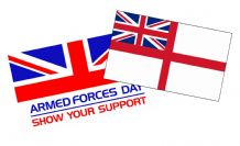 ARMED FORCES DAY & WHITE ENSIGN TWIN SET (TWO FLAGS) 5X3 FEET (15Ocm x 90cm)